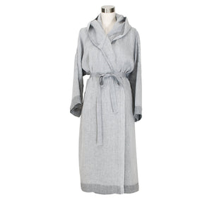LAPUAN - KASTE PRESHRUNK LINEN BATHROBE WITH HOOD. GREY