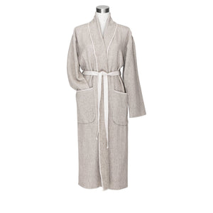 LAPUAN - KIVI TERRY BOUCLE BATHROBE. NATURAL+WHITE