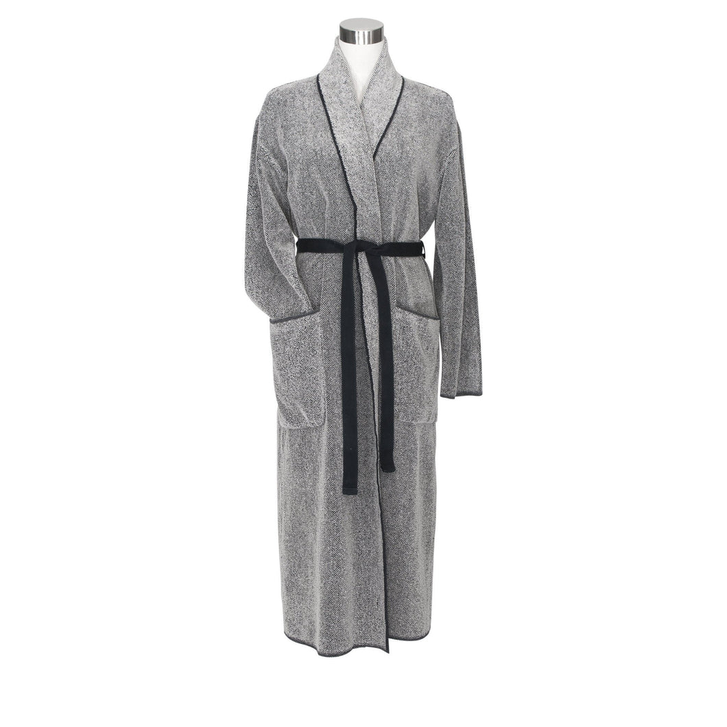 LAPUAN - KIVI TERRY BOUCLE BATHROBE. BLACK+NATURAL