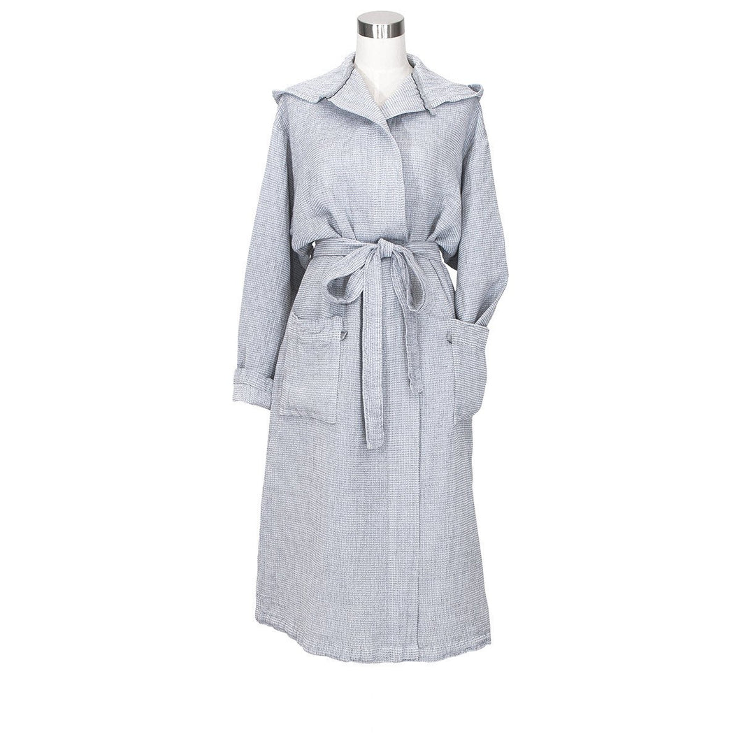 LAPUAN - TERVA WAFFLE BATHROBE WITH HOOD. GREY+WHITE