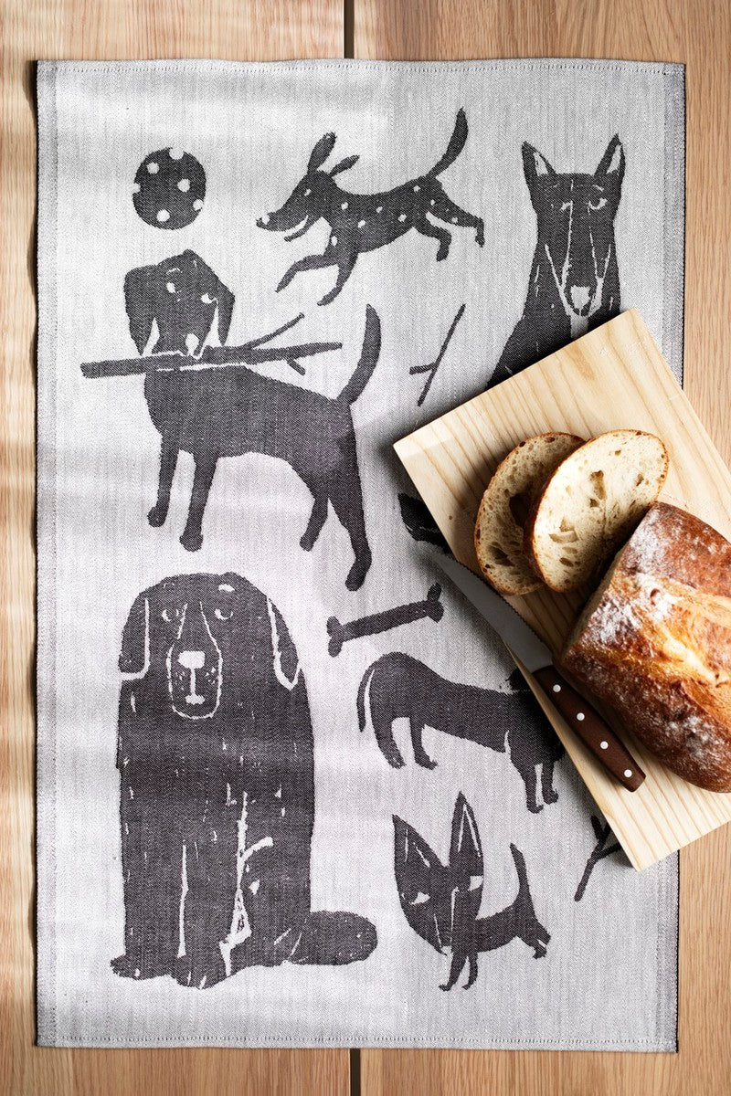 LAPUAN - KOIRAPUISTO DOGS GRAPHIC LINEN HAND TOWEL. BLACK