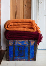 Load image into Gallery viewer, LAPUAN - SAAGA UNI MOHAIR BLANKET. BORDEAUX