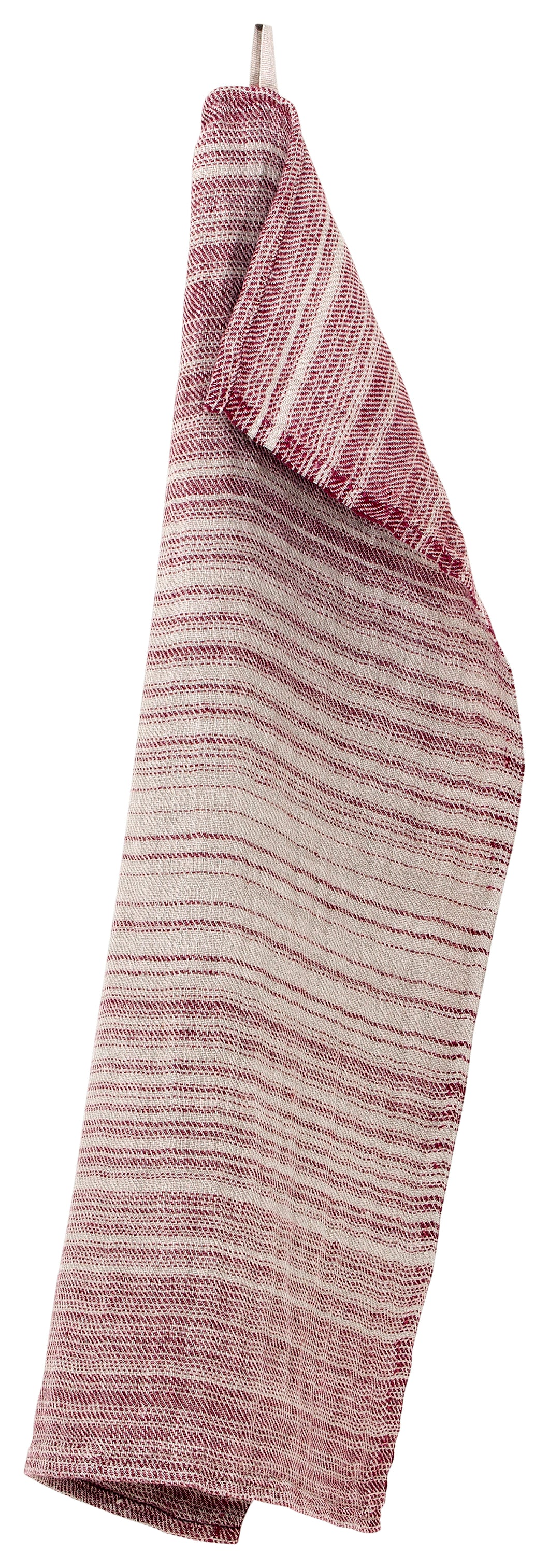 LAPUAN - ULAPPA LINEN SMALL HAND TOWEL. NATURAL+BURGUNDY
