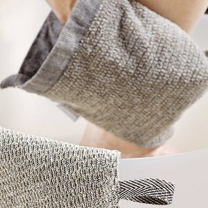 LAPUAN  - MERI LINEN TERRY WASH MITTEN - NATURAL + BLACK