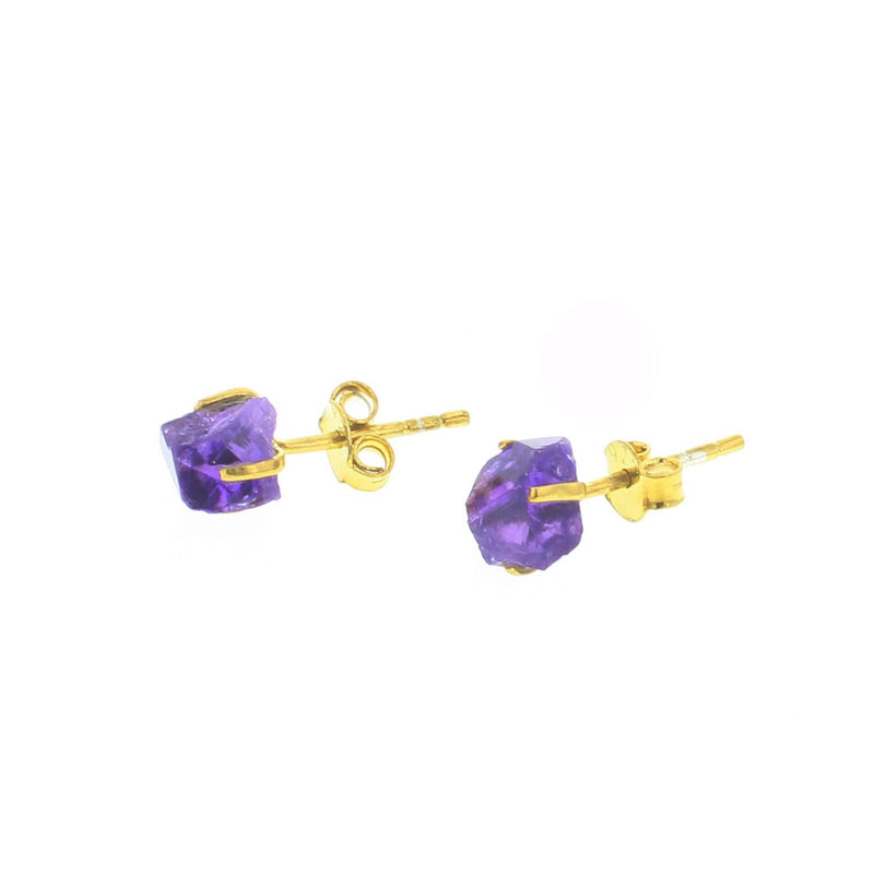 Mineral Stud Earrings - Amethyst