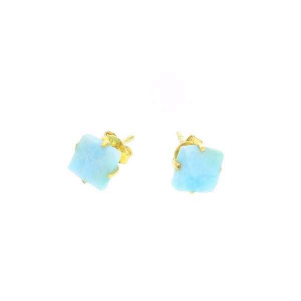 Mineral Stud Earrings - Larimar