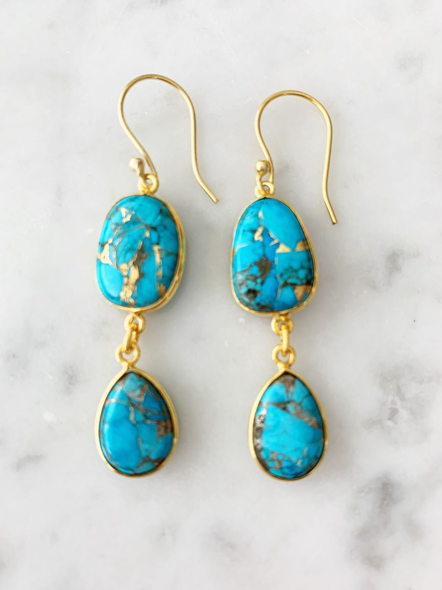 Rome Earrings  Copper Turquoise and Gold