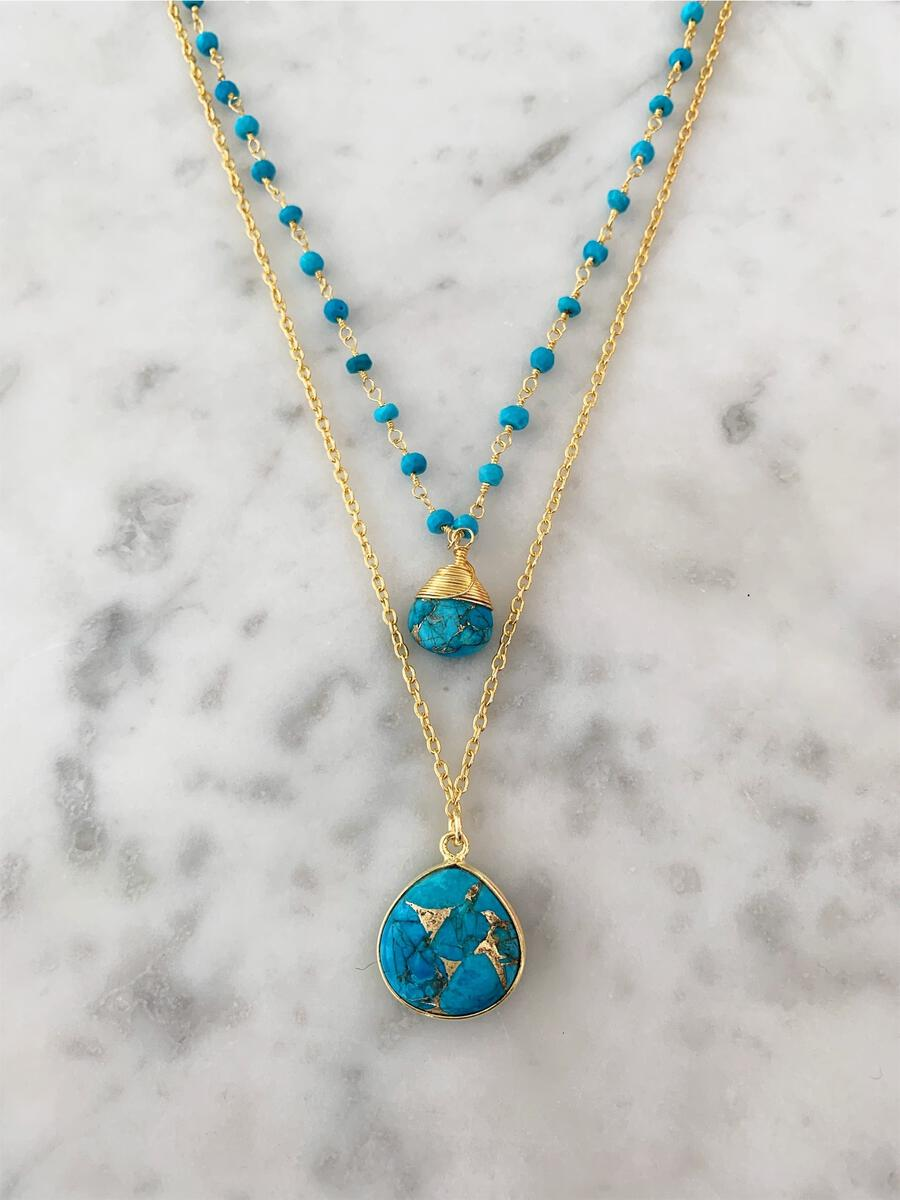Jill Necklace  Gold Copper Turquoise