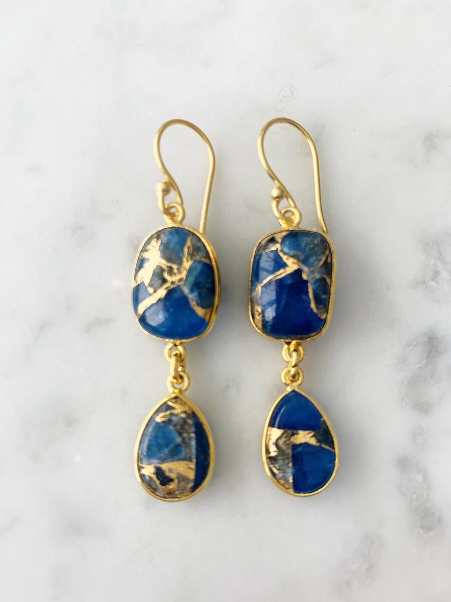 Rome Earrings  Blue Mohave & Gold