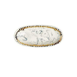 ELIANA BERNARD  Oval Dish | Classic Marble + Gold Dashes
