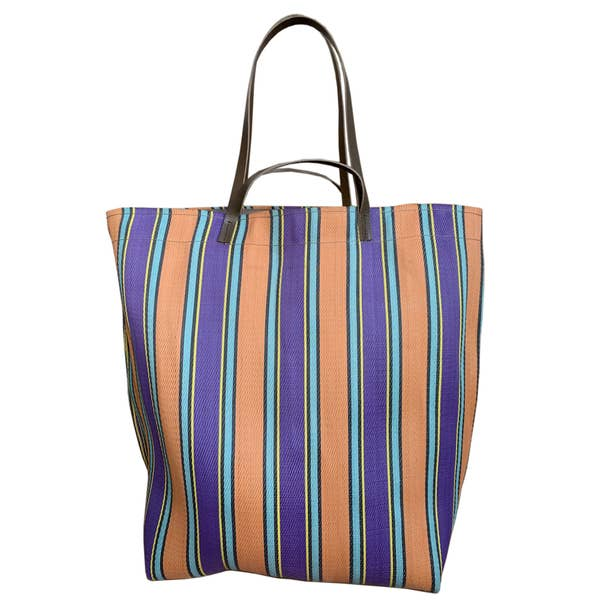 Large Assam Market Bag Peach & Purple