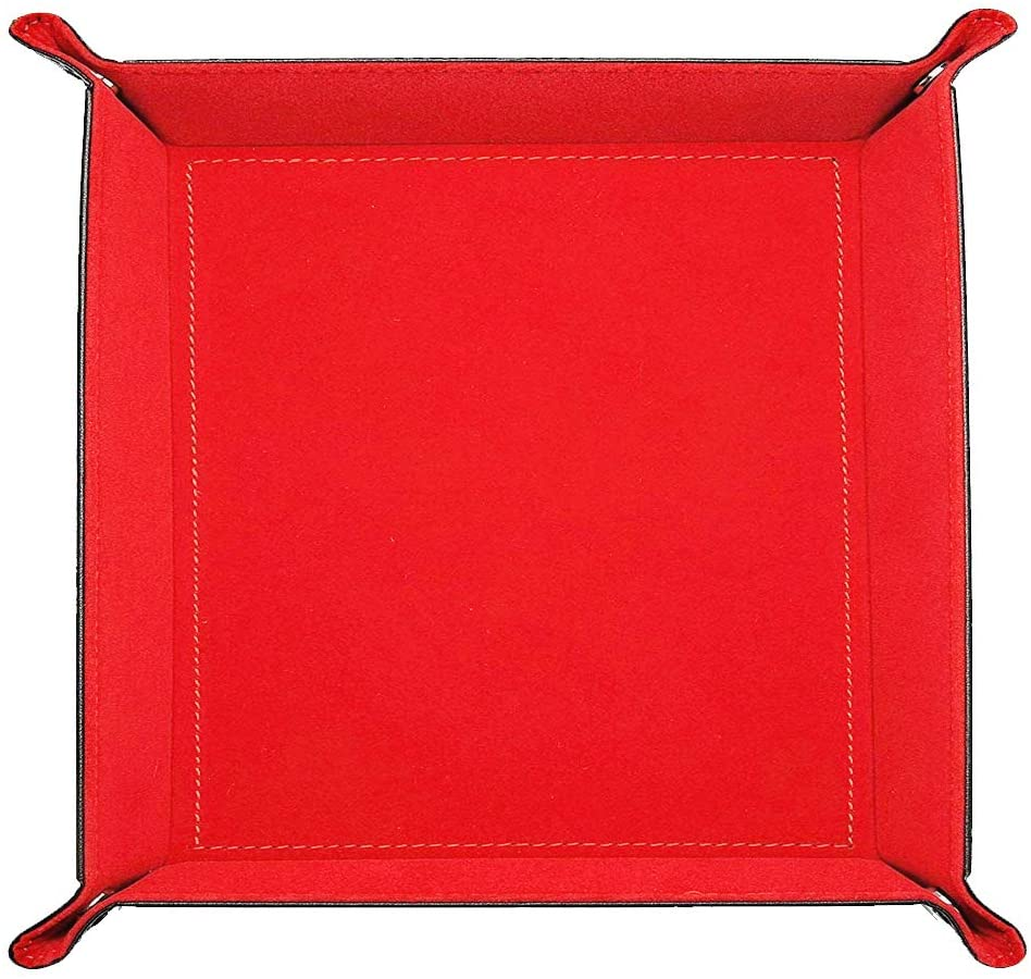 Valet Tray Desktop Storage Organizer- Red/Black
