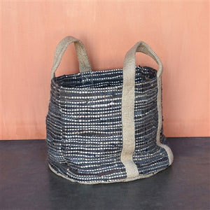 Woven Storage Leather & Hemp Basket- Tote