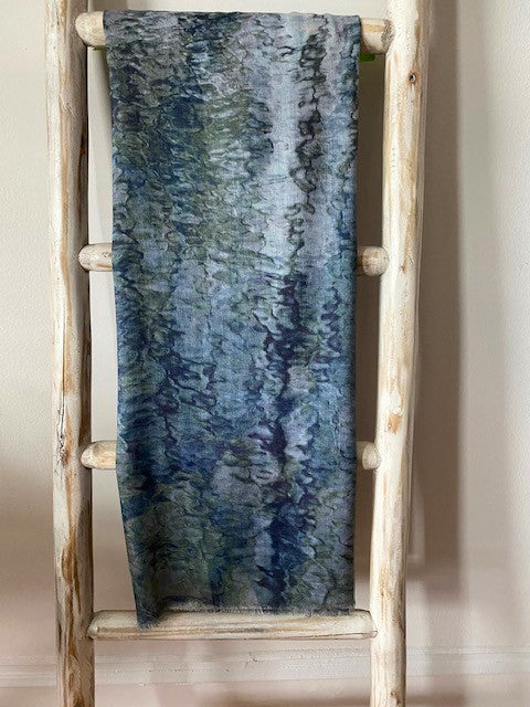 Martyn Thompson Painterly Reflections  Scarf - Blue Tones