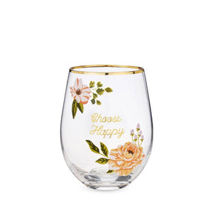 CHOOSE HAPPY Stemless Wine Glass