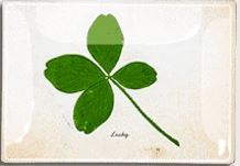 "Lucky Clover Decoupage Glass Tray 6"" X 10"""