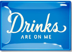 "Drinks Are On Me Blue Decoupage Glass Tray 6"" X 10"""
