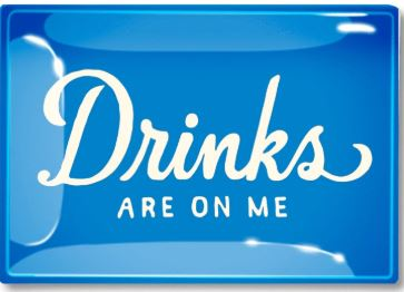 Drinks Are On Me Blue Decoupage Glass Tray 6