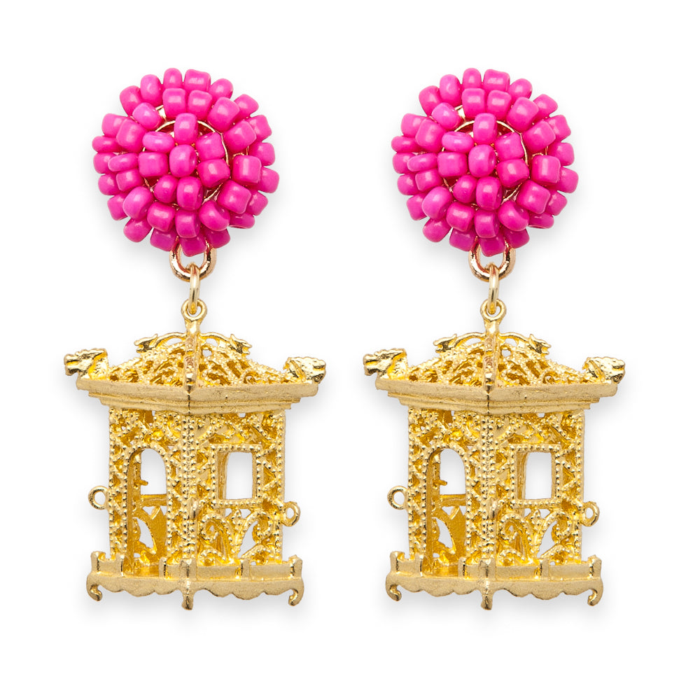 Pagoda Earrings Fuchsia