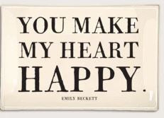 "You Make My Heart Happy Decoupage Glass Tray 6"" X 9"""