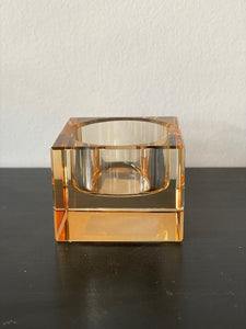 CRYSTAL SQUARE TEALIGHT HOLDER CHAMPAGNE