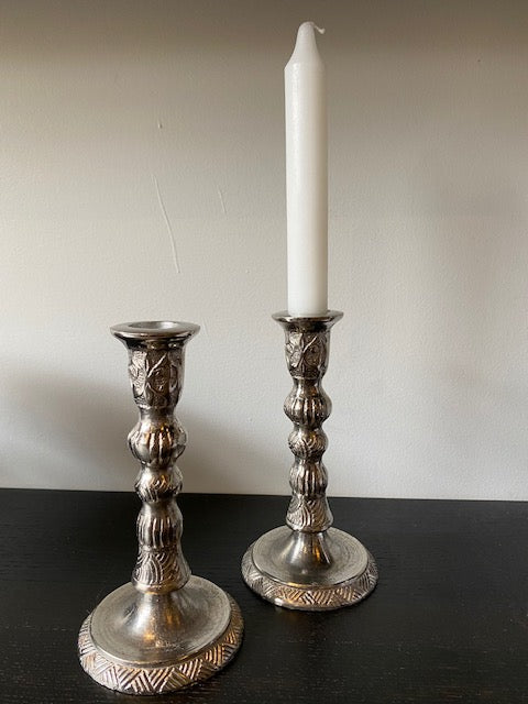 RAW NICKLE CANDLESTICKS PAIR (BASKET-WEAVE)