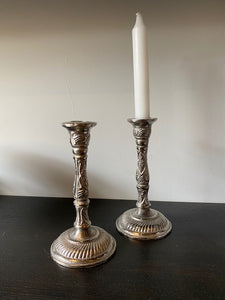 RAW NICKLE CANDLESTICK PAIR (LINES)