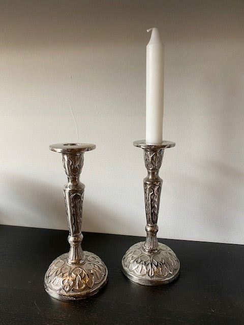RAW NICKLE CANDLESTICKS PAIR  (LEAVES)
