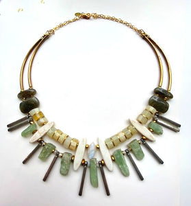 GREEN KYANITE + YELLOW OPAL NECKLACE