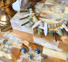 Load image into Gallery viewer, GREEN KYANITE + YELLOW OPAL NECKLACE