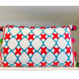 Embroidered Rectangle Pillow With Pom Poms