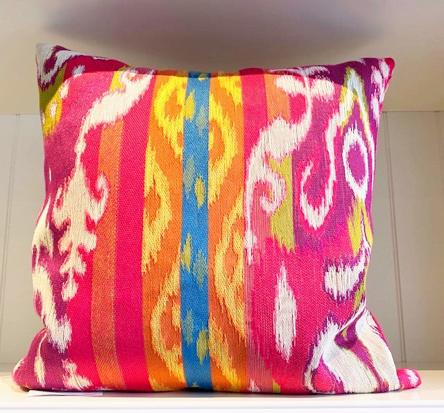 Pink Ikat Tapestry Pillow