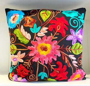 Black Square Pillow With Embroidery