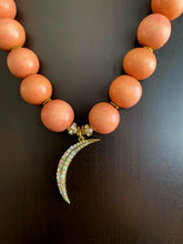 Load image into Gallery viewer, Coral Reef Beaded Necklace With Crescent