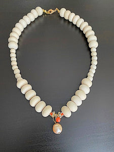 Ivory Reef Beaded Necklace With Pearl Drop