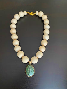 Ivory Reef Necklace With Stone Drop