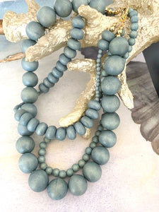 Triple Strand Teal Reef Beaded Necklace