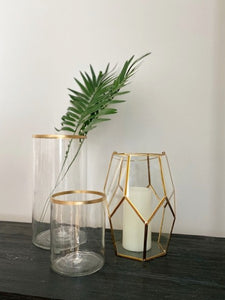 GLASS GOLD RIM VASE L 6""