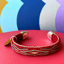 Load image into Gallery viewer, Bendable Horsehair Bracelet Cuff Red/Turquoise