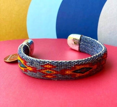 Bendable Horsehair Bracelet  Blue/Red/Gold
