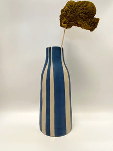 Stripe Vase  Blue/Camel
