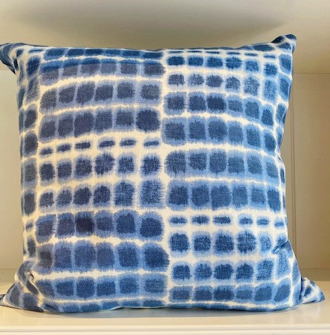 Blue & White Block Print Pillow