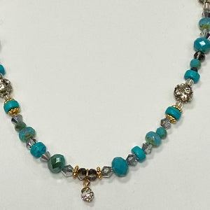 Turquoise Bead Necklace With Rhinestones and Charm