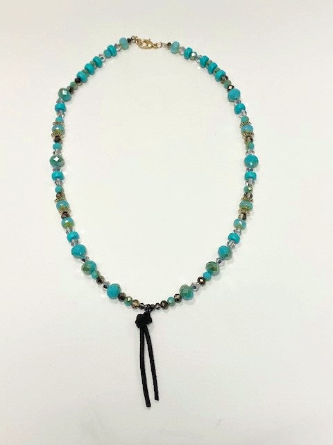 Turquoise Bead Necklace With Smokey Crystals And Leather