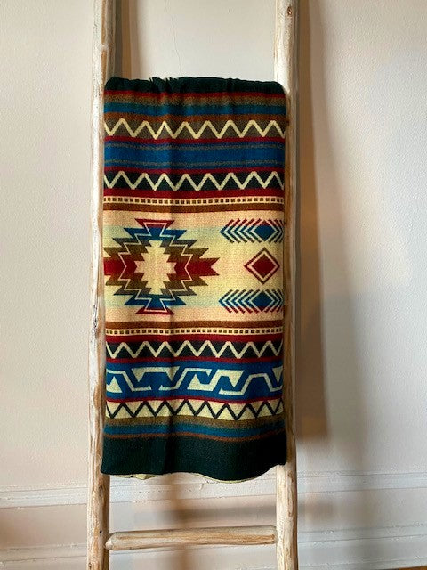 Southwestern Blanket  Teal/Burgundy/Forest Green