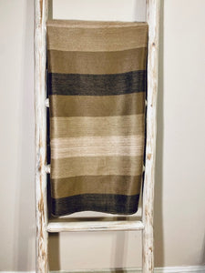 Alpaca Throw  Bold Stripe Taupes