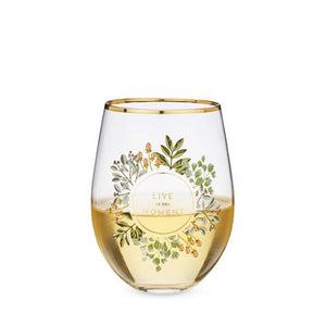 Live In The Moment Wine Glass