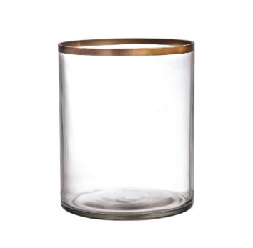 GLASS GOLD RIM VASE L 6