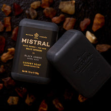 Load image into Gallery viewer, MISTRAL BAR SOAP: BLACK AMBER