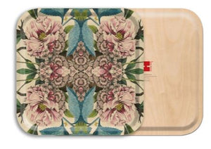 PEONIES BIRCH WOOD TRAY- SQUARE